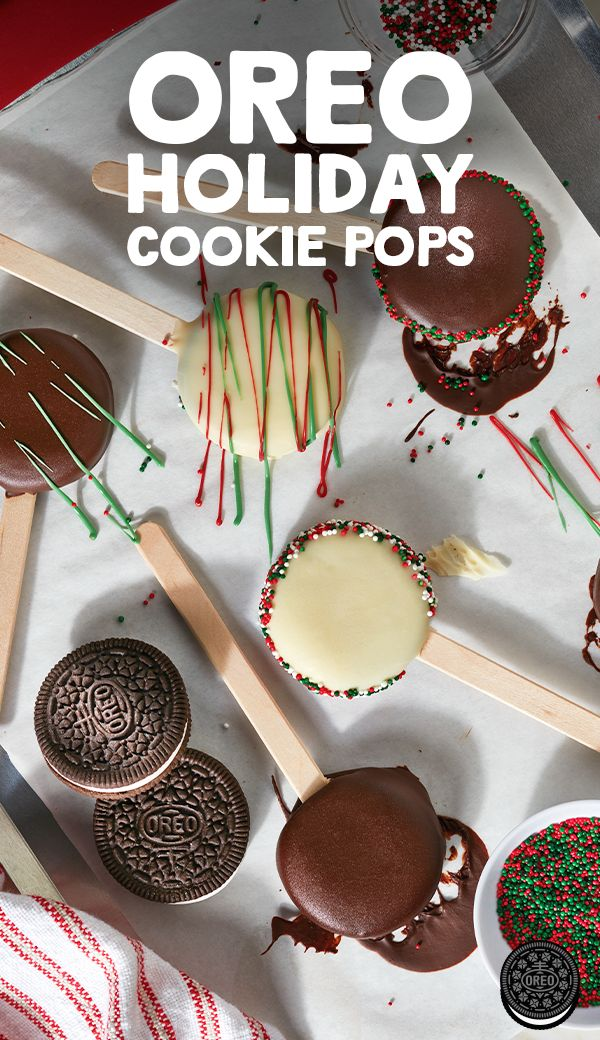 Take the stress out of holiday baking with these simple OREO Holiday Cookie Pops. They're easy to make and fun to decorate!