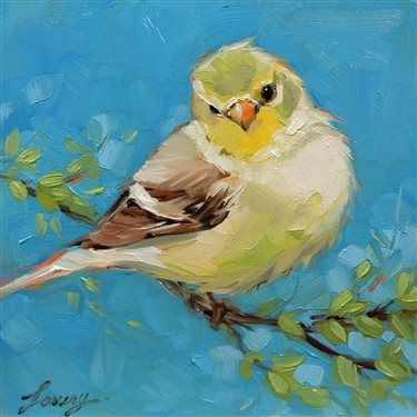 Spring Goldfinch by Lavery Art, 6 x 6 oil painting on panel, animal painting.