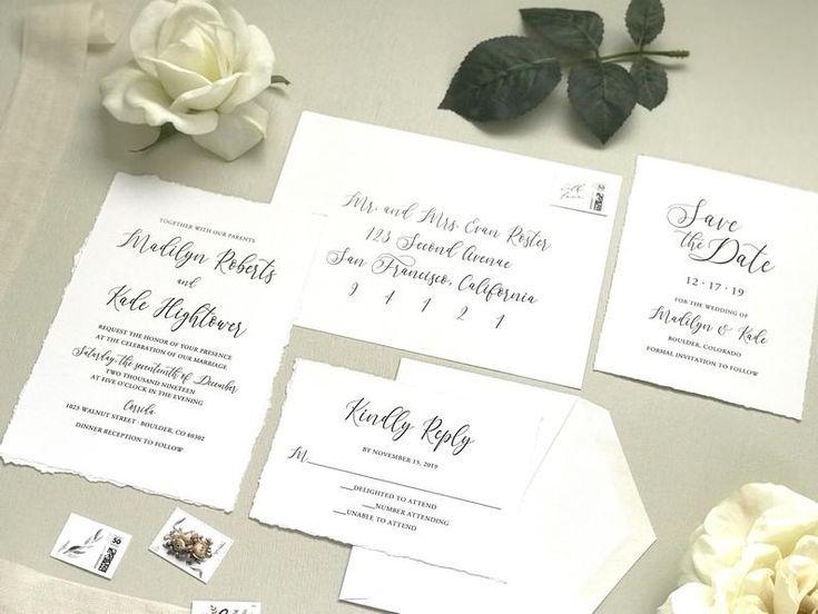 Deckled Edge Wedding Invitation Set Printed Hand Torn Invite Etsy In 2020 Wedding Invitation Sets Botanical Wedding Invitations Invitation Set