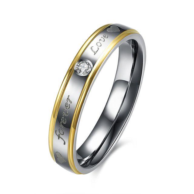 Ювелирные изделия титана стали кольца классический позолоченные кольца инкрустированные камень романтические дамы обручальное кольцо на Рождество