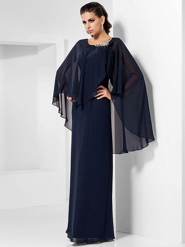 Vestito - Blu marino scuro Sera/Ballo Militare/Festa di nozze Tubino Tondo A Terra Chiffon Taglie grandi - USD $ 99.99
