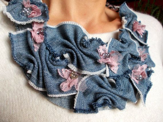 Upcycled Denim Necklace - Bib Necklace - Jeans Jewelry – Bohemian necklace   – Recycled Jeans