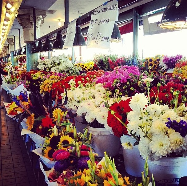 Pike Place Market flowers - just one of the special things about the market.