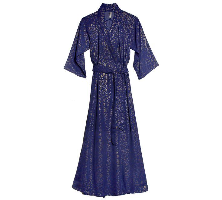 Leopard Play Cobalt Gold Robe   Gold Print Luxury Nightwear  Designer Loungewear Chiffon   Between the Sheets Sleepwear