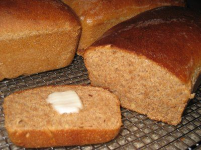 """Our all-time favorite 100% WHOLE WHEAT BREAD recipe.  Even if you think you make a good bread already, give this recipe a try.""  YUM!"