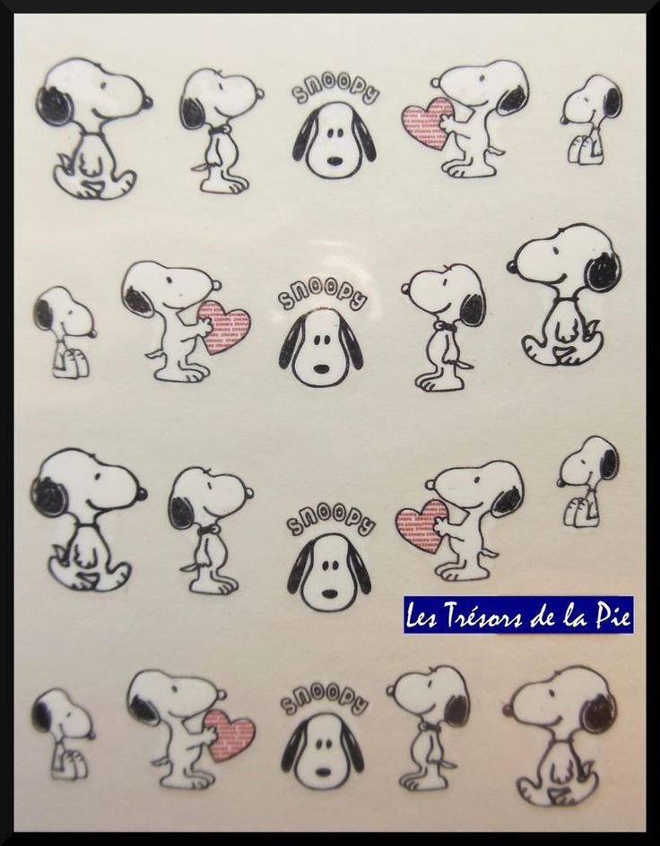 STICKERS ONGLES WATER DECAL (x25) - Nail art - Snoopy & coeur - Noir & rouge