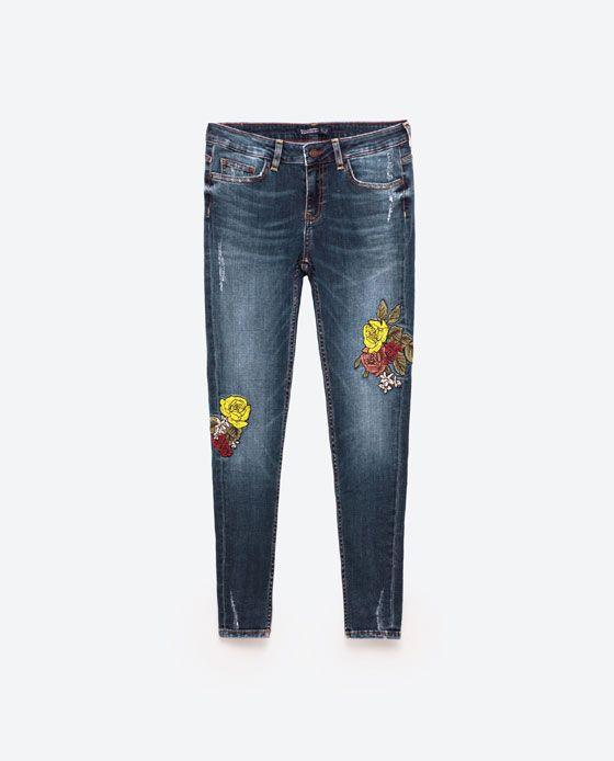 Resultado de imagem para zara calças bordados