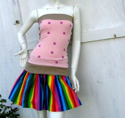 Nyan Cat poptart s 1x Costume Shirt Rainbow Skirt Cosplay Halloween Kawaii | eBay.