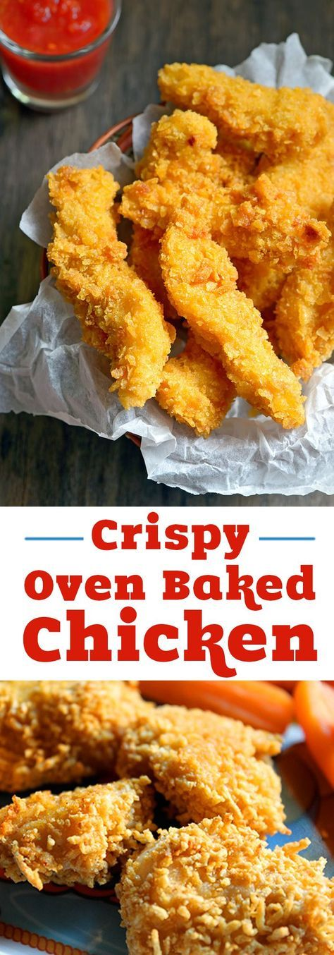 Easy crispy oven baked chicken recipe your family will love for dinner! Only 10 minutes of prep time for healthy oven fried chicken! Make nuggets for kids or strips for dipping. #chicken