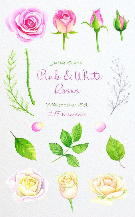 Watercolor Flowers Clipart Roses Wedding Invitation by JuliaSpiri