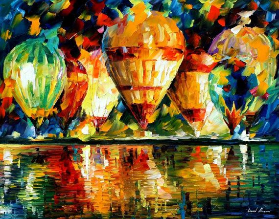 """Balloon Show — PALETTE KNIFE Contemporary Fine Art Oil Painting On Canvas By Leonid Afremov - Size: 30"""" x 24"""" Inches (75 cm x 60 cm)"""