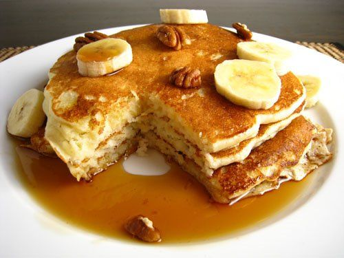 Banana Buttermilk Pancakes    Ingredients:  1 cup all purpose flour  1 teaspoon baking powder  2 tablespoons sugar  1/4 teaspoon salt  1 cup buttermilk  1 egg  2 tablespoons unsalted butter (melted)  2 overripe bananas (mashed)