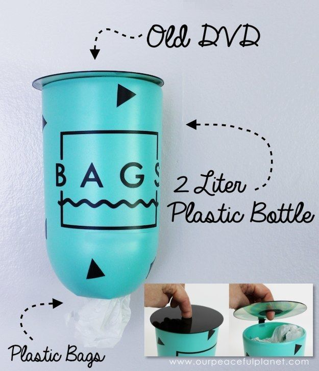 Turn an empty plastic bottle and old CD or DVD into a wall-mounted plastic bag dispenser.