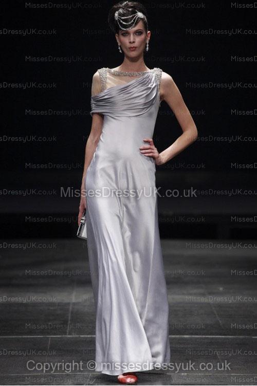 Sheath/Column Straps Satin Floor-length Silver Ruffles Evening Dress