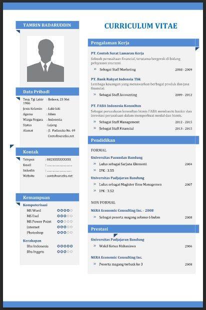 Contoh Cv Curriculum Vitae Yang Baik Menarik Dan Benar File Word