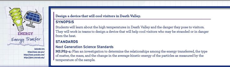 Students will learn about the high temperatures in Death Valley and the danger they pose to visitors. They will work in teams to design a device that will help cool visitors who may be stranded or in danger from the heat.  Don't forget to rate our lesson plan, and be sure to check out our free mini lesson plans, as well as our STEM student planner and teacher lesson plan book at www.stem.schooldatebooks.com.