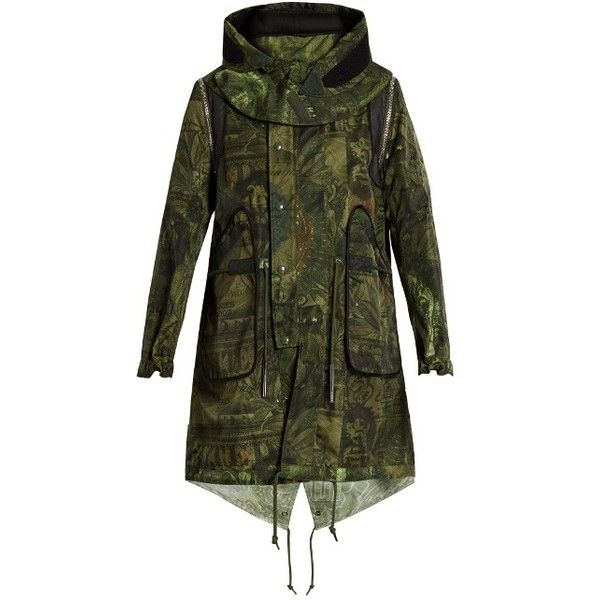 Givenchy Dollar-print parka (4,020 CAD) ❤ liked on Polyvore featuring men's fashion, men's clothing, men's outerwear, men's coats, black multi, mens parka coats, mens military coat and mens military style coat