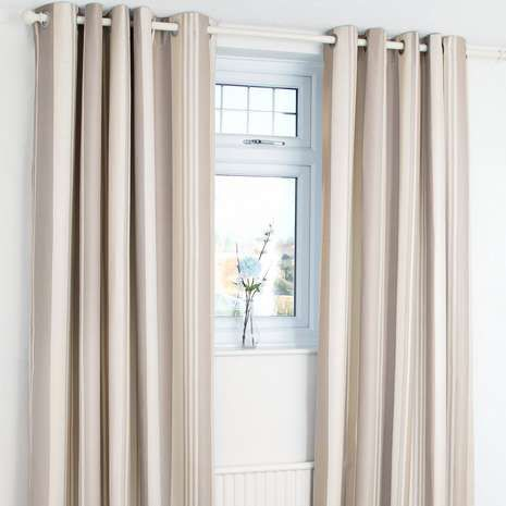 Designed with a natural-coloured stripe pattern and a herringbone texture, these blackout curtains will reduce unwanted external light and noise and are equippe...