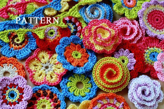 Crochet Patterns  Big Flower Party Pattern No. 001  por ZoomYummy