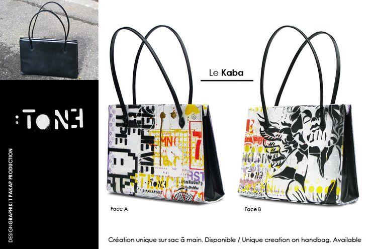 Le KABA. Création unique sur un sac à main en cuir. Artiste-peintre Tone. / Unique creation on a leather handbag. Artist-painter: Tone. www.t-pakap.net