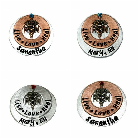 """NOTE ---> THE BACK OF THIS ITEM CANNOT BE STAMPED  THIS LISTING IS FOR ONE PIN ONLY.  -----> PLEASE SCROLL TO SECOND PICTURE FOR DESIGN CHOICES <-----  I have hand stamped a 1"""" aluminum or copper washer and added a RN/LPN charm. I have also added a 1-1/4"""" aluminum or copper disc to the back for personalization. I have secured all the pieces together and attached a pin on the back of this pendant using a strong metal epoxy.  LIKE MY FACEBOOK FAN PAGE FOR EXCLUSIVE COUPONS AND GIVE A WAYS…"""