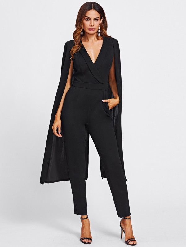 4c8ae9b6924 Cape Sleeve Surplice Wrap Tailored Jumpsuit -SheIn(Sheinside ...