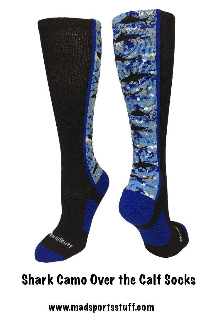 Digital Camo Shark Over the Calf socks!  Perfect baseball socks, soccer socks & more...#MadSportsStuff