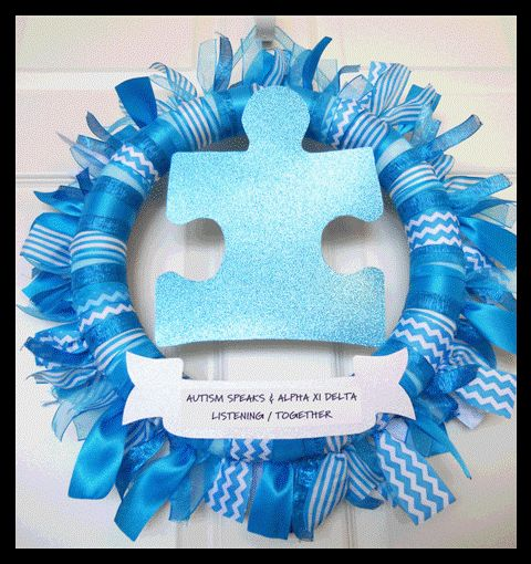 How to make an autism awareness wreath for your home or fundraiser
