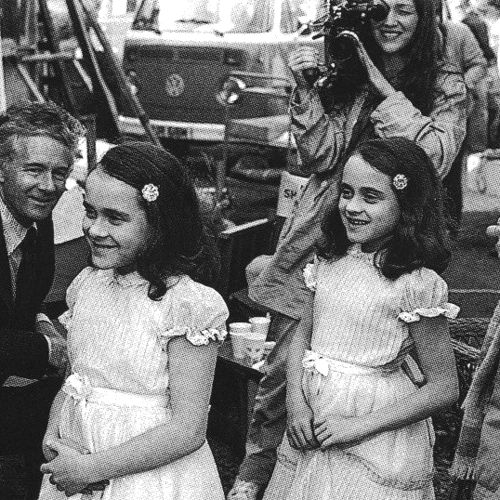 Lisa and Louise Burns behind the scenes of The Shining (1980)