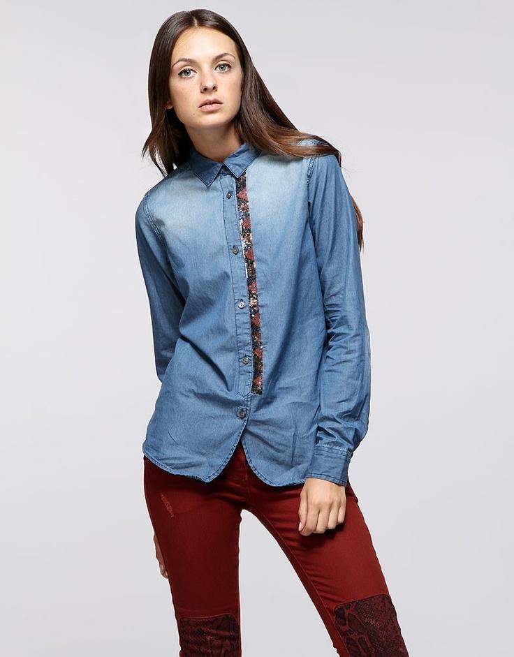 Camicia di jeans con paillettes indian style