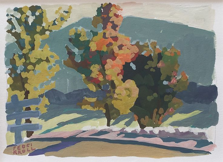 Peggi Kroll Roberts Three Trees gouache 6×8 in.