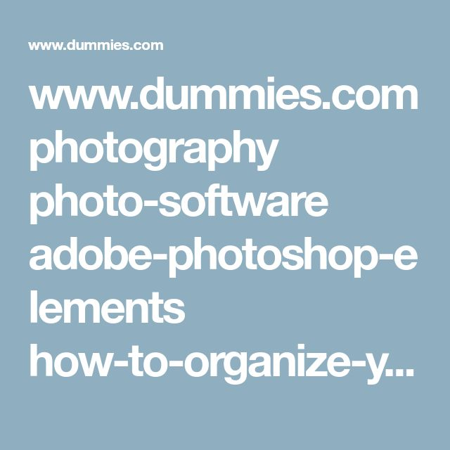 www.dummies.com photography photo-software adobe-photoshop-elements how-to-organize-your-photos-in-photoshop-elements-11