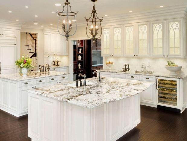 Nice Lovely Granite Countertop In White Kitchen