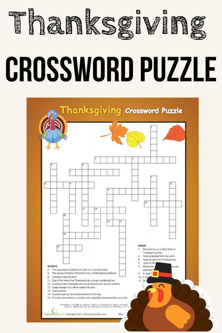 Thanksgiving Crossword Challenging Thanksgiving Crossword