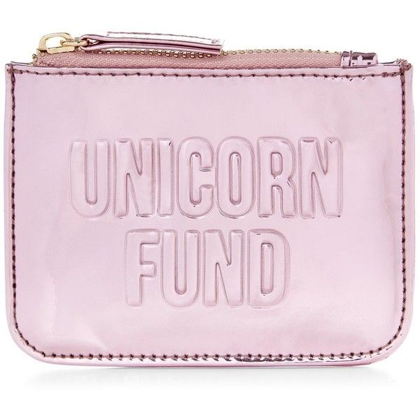 New Look Pink Unicorn Fund Zip Top Coin Purse (£4.99) ❤ liked on Polyvore featuring bags, wallets, shell pink, zip top bag, coin purse, change purse wallet, coin purse wallet and coin pouch