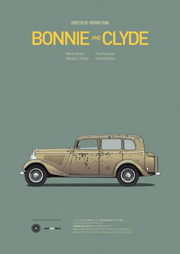 Posters of Famous Movie Cars: Bonnie and Clyde's stolen Ford V8 death car