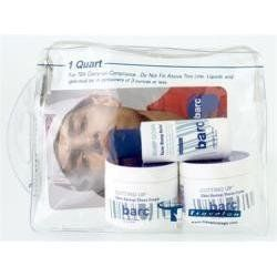 Barc Barc Travel Kit by Barc. $28.00. Please read all label information on delivery.. Country of origin: USA. Barc Travel Kit contains:   Cutting Up (Skin Saving) Shave Cream (TWO - 2 oz jars)  Bump Down Razor Bump Relief (1.7 oz bottle)  Clear Plastic Quart-Size zip-top bag for Travel
