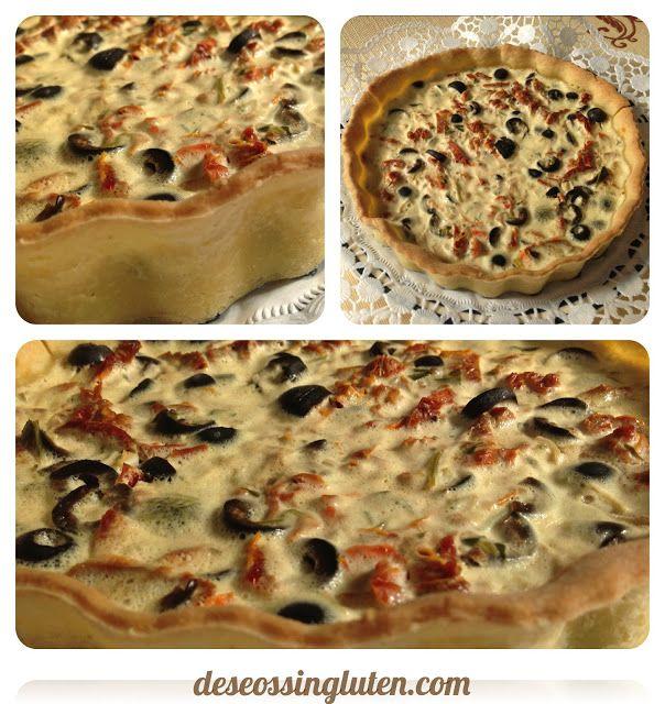 Deseos Sin Gluten: QUICHE DE TOMATES SECOS Y ACEITUNAS SIN GLUTEN
