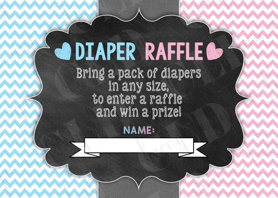 Diaper Raffle Ticket Gender Reveal He or She Baby by CLaceyDesign