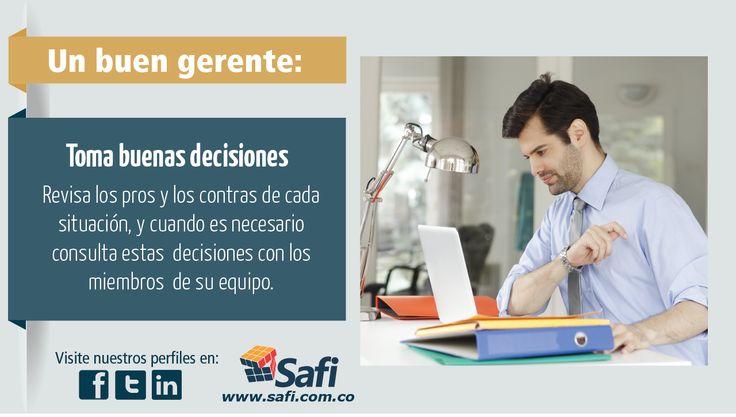 Tome buenas decisiones, analice todo su entorno y elija el camino que más lo acerca a los objetivos de su empresa.En Safi trabajamos por hacer más #Fácilgerenciar.  www.safi.com.co