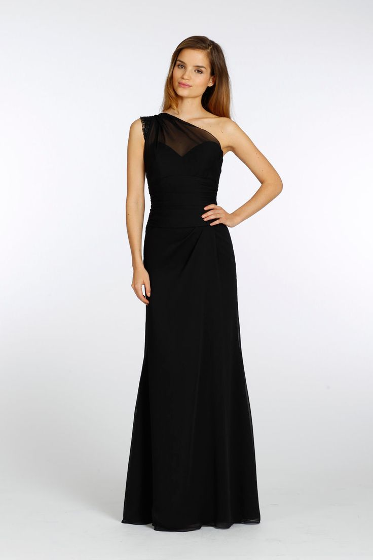 Black one shoulder bridesmaid dress from Alvina Valenta
