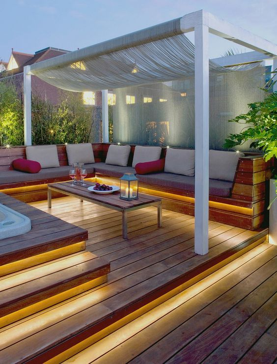 This deck lighting scheme is for the enthusiast that wants a mixture of beauty, functionality and safety. So the idea is to bathe the walkway and entrances with soft light