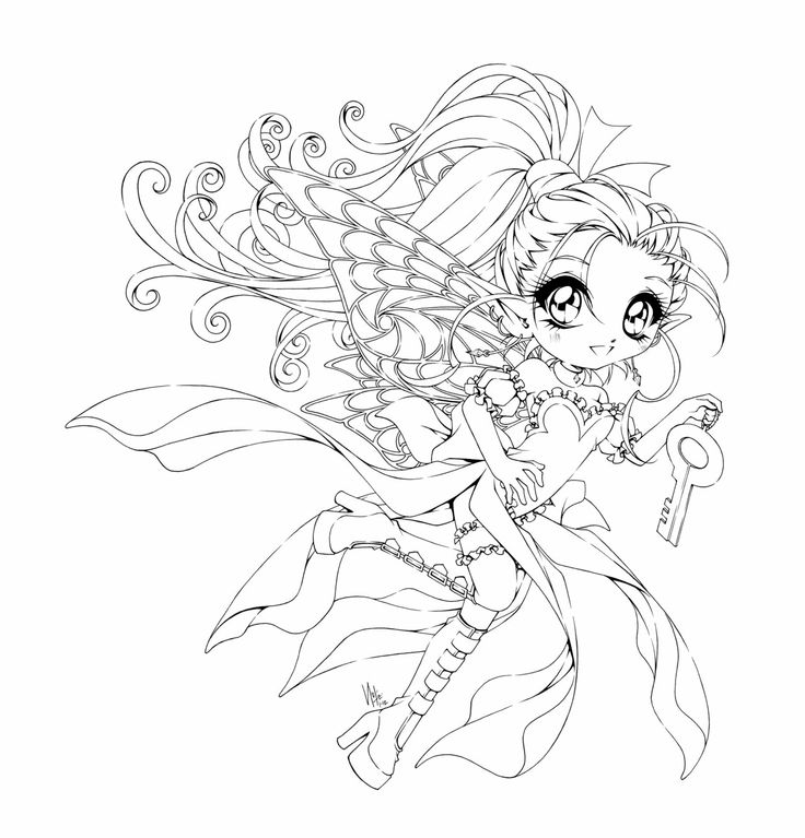 Sakura Cherry Blossom Fairy Coloring Page Digital