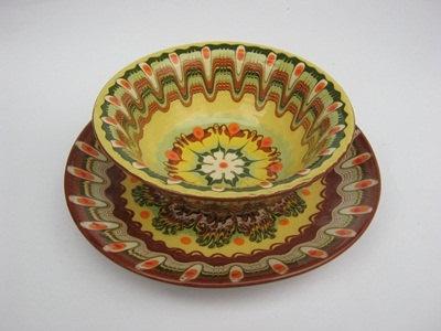 bulgarian original ceramic pottery bolw and plate, handmade and handpaint. $18.49, via Etsy.