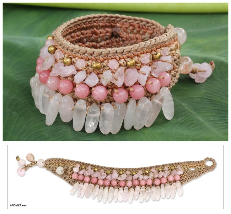 Beaded Crocheted Bracelet with Rose Quartz - Thai Rose | NOVICA