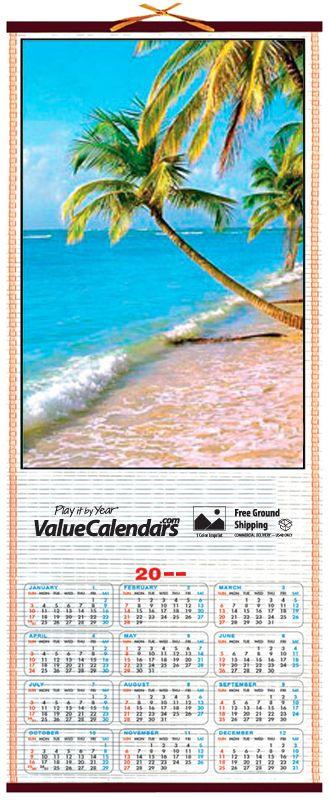 "2017 Tropical Cane Wall Scroll Calendar | 12-1/2"" x 30"", scroll wall calendar, scroll advertising calendar business, logo bamboo scroll roll calendar, valuecalendars.com, tropical beach calendar, tropical scene, palm trees, unique calendars, promotional calendars, business logo calendar, span a year calendars, 2017 wall calendar, business gift, advertisement, business advertising cheap, custom calendars, bamboo calendar, beach, fun calendar, unique promotional calendar, beach calendar…"