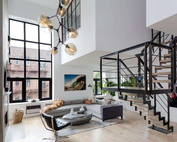 AFTER Duplex Living Room Grey Sectional Modern Light Fixture