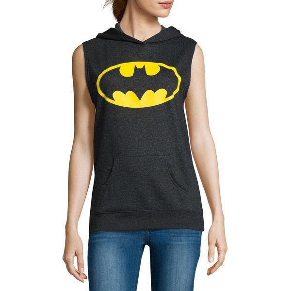 Batman Sleeveless Hoodie  - Juniors ($15) ❤ liked on Polyvore featuring tops, hoodies, sleeveless hoodie, hoodie top, sleeveless hoodies, sleeveless tops and no sleeve hoodie