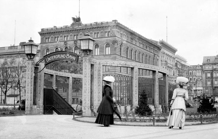 Berlin Unter Bahn Station, Wilhelmplatz, at the corner of Wilhelmstrasse and Voßstraße (c. Early 1900's.). The station has since been renamed Mohrenstraße