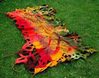 felting  - autumn colors shawl